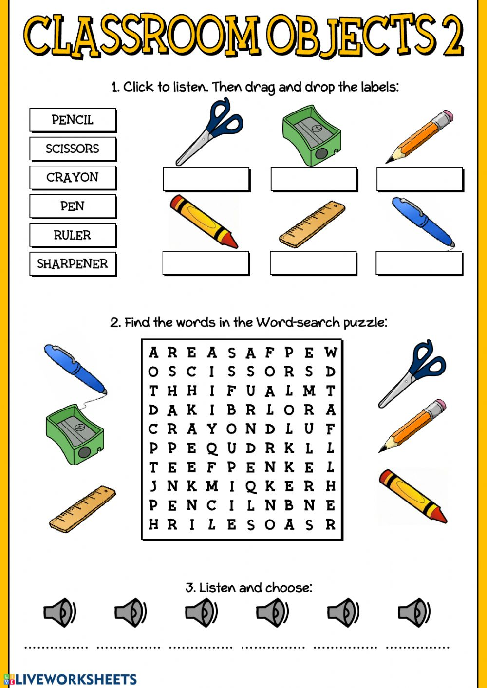 hight resolution of Classroom objects 2 worksheet