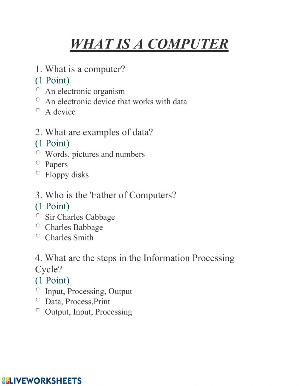 hight resolution of What is a Computer? worksheet