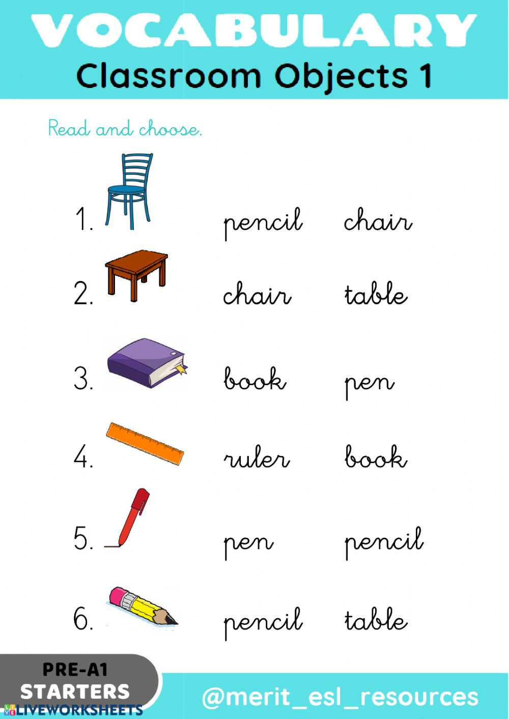 medium resolution of School Objects - Read and choose worksheet