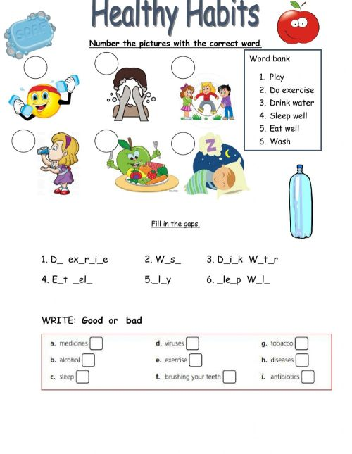 small resolution of Healthy habits worksheet for Grade 5