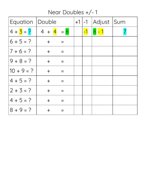 small resolution of Near Doubles (Doubles Plus or Minus 1) worksheet