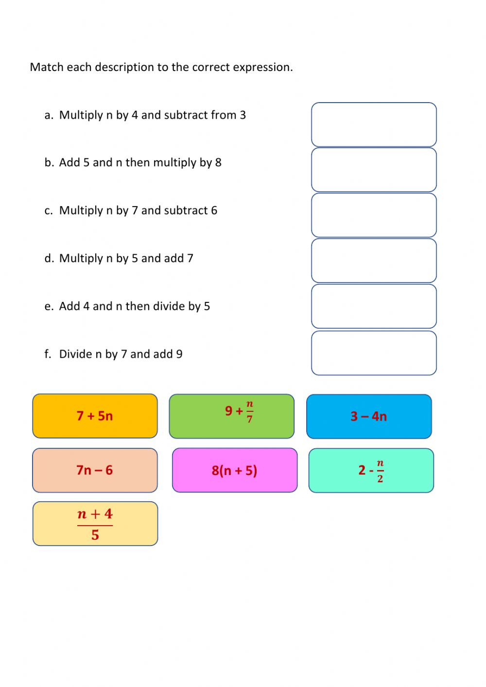 hight resolution of Constructing Expressions interactive worksheet