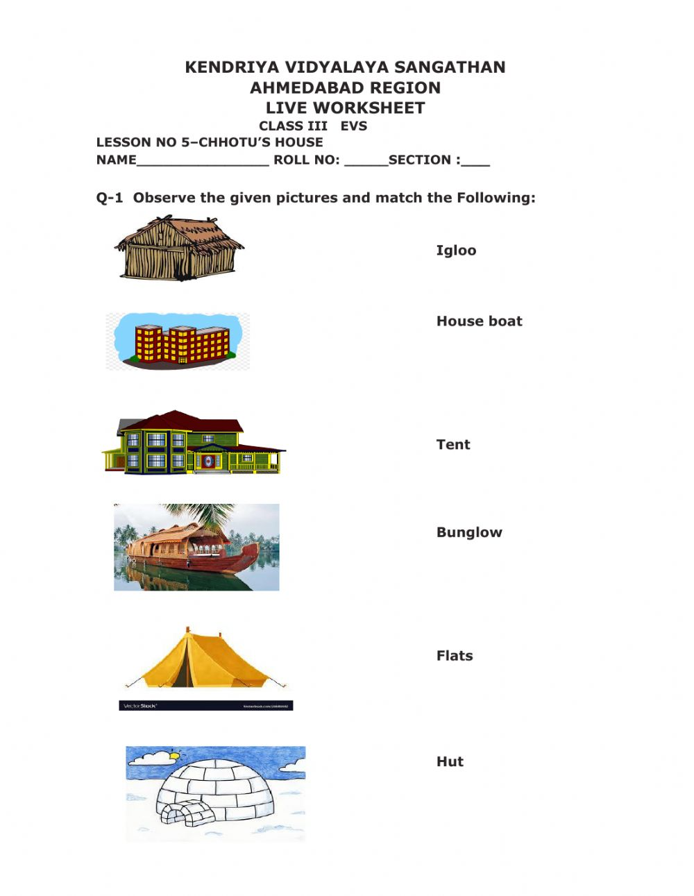 hight resolution of Types of Houses interactive exercise
