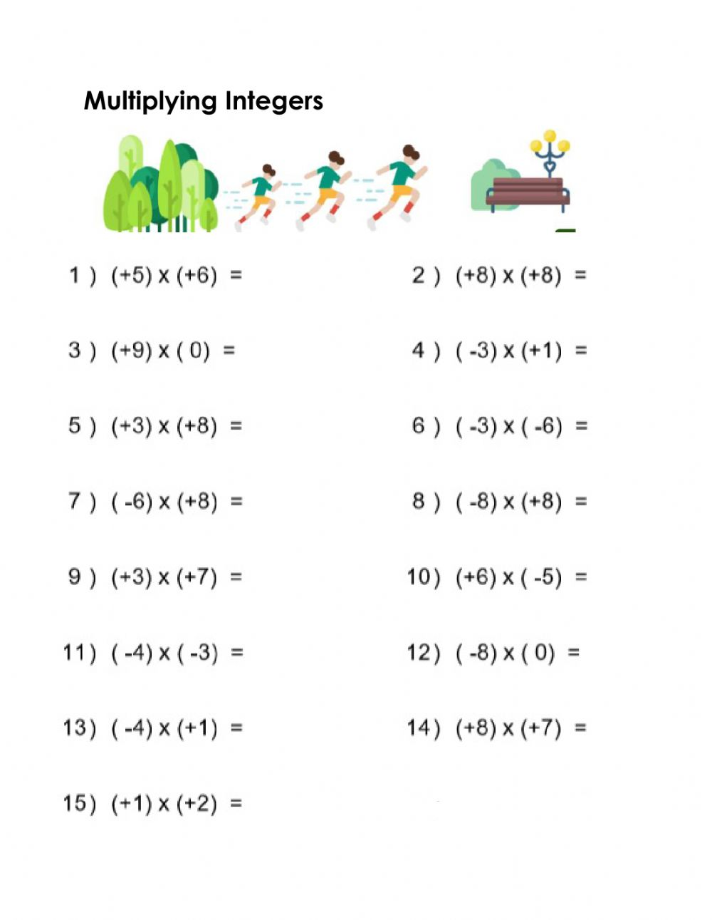 medium resolution of Practice: Multiplying Integers worksheet