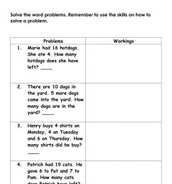 Mathematics Addition and Subtraction word problem facts to 20 Homework  worksheet [ 1413 x 1000 Pixel ]