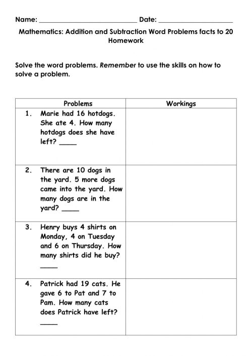 small resolution of Mathematics Addition and Subtraction word problem facts to 20 Homework  worksheet