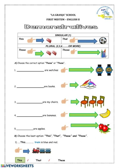small resolution of Demonstrative adjectives online worksheet