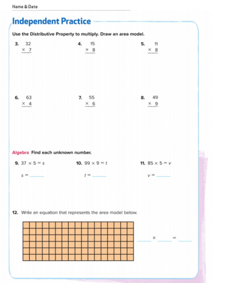 medium resolution of Area And Distributive Property Worksheets - 6th grade math properties  worksheet antihrap free printable distributive property worksheets