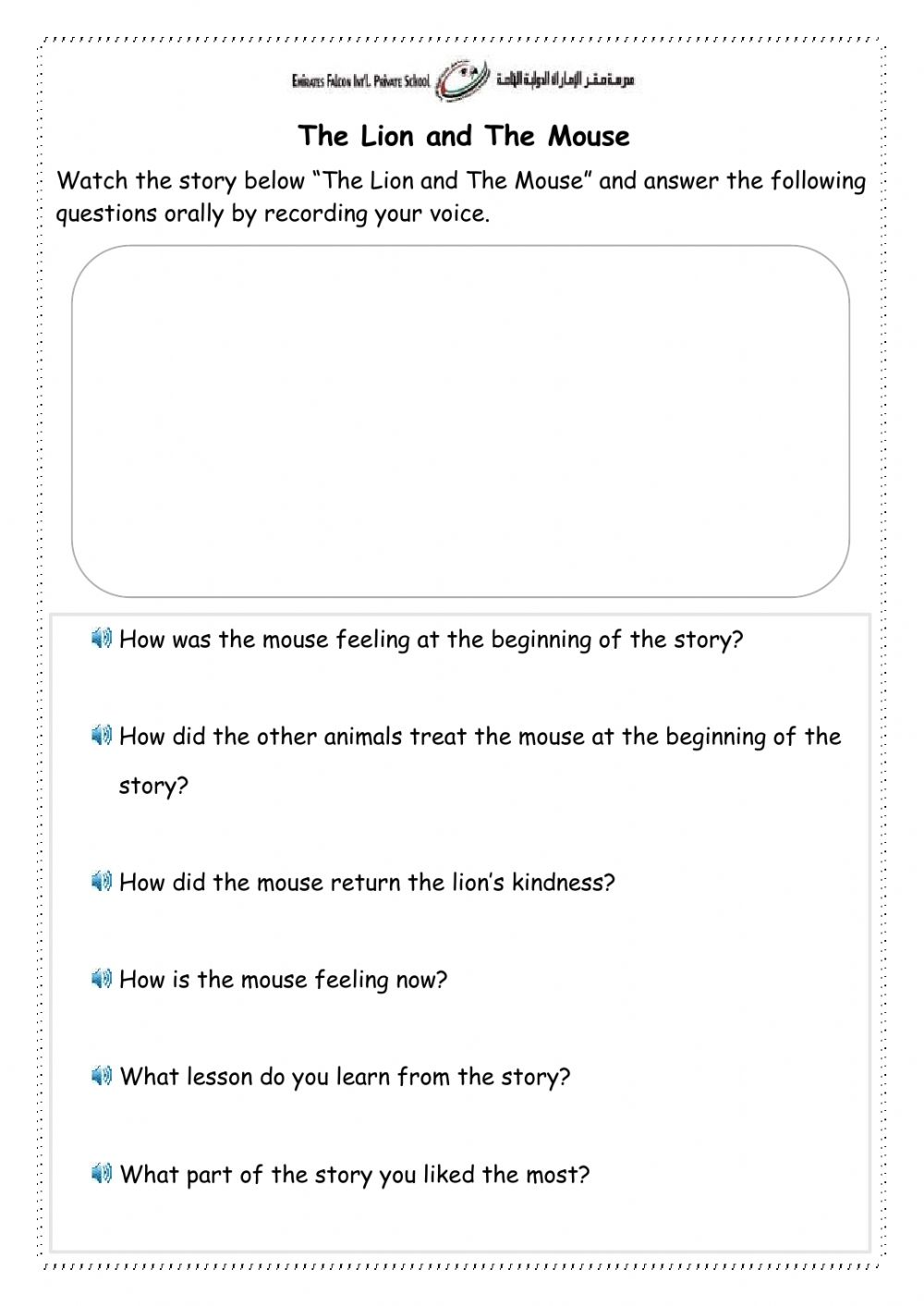 medium resolution of The Lion and The Mouse worksheet for Grade 1