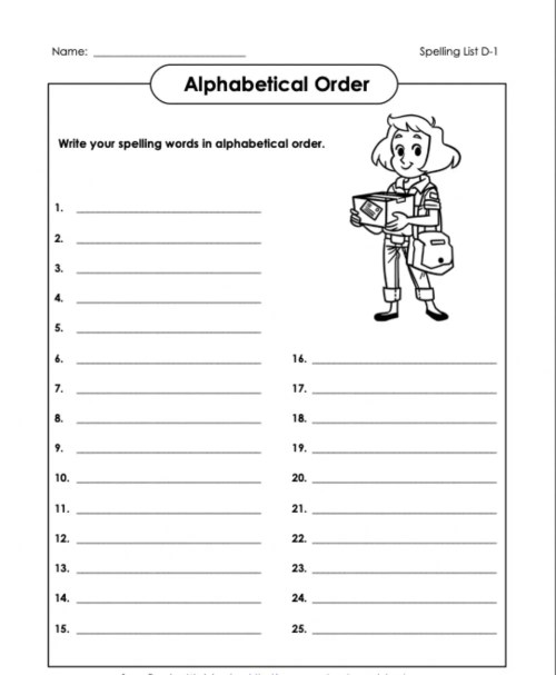 small resolution of Alphabetical Order 2 D1 5th Grade worksheet