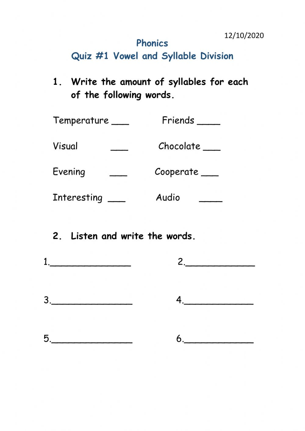 hight resolution of Syllables interactive exercise