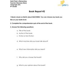 Book Report worksheet for 4th Grade [ 1291 x 1000 Pixel ]