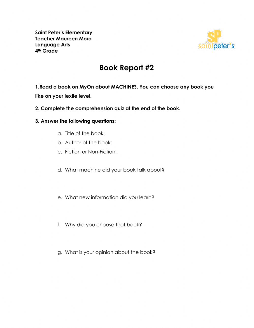 medium resolution of Book Report worksheet for 4th Grade