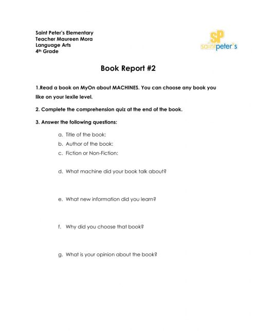 small resolution of Book Report worksheet for 4th Grade