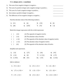 Review integers worksheet [ 1291 x 1000 Pixel ]