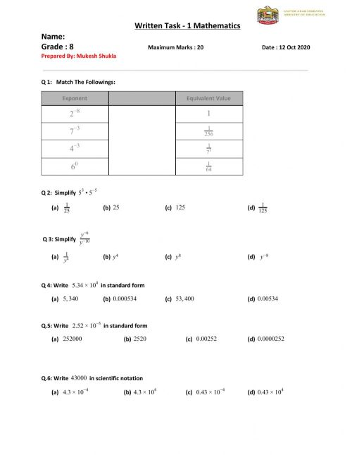 small resolution of Writing Task -1 Grade 8 worksheet