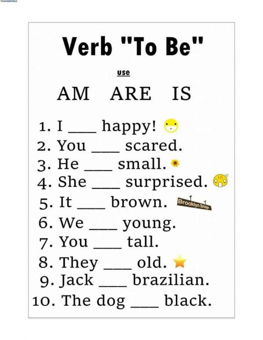 medium resolution of The Verb To Be interactive worksheet for Grade 1