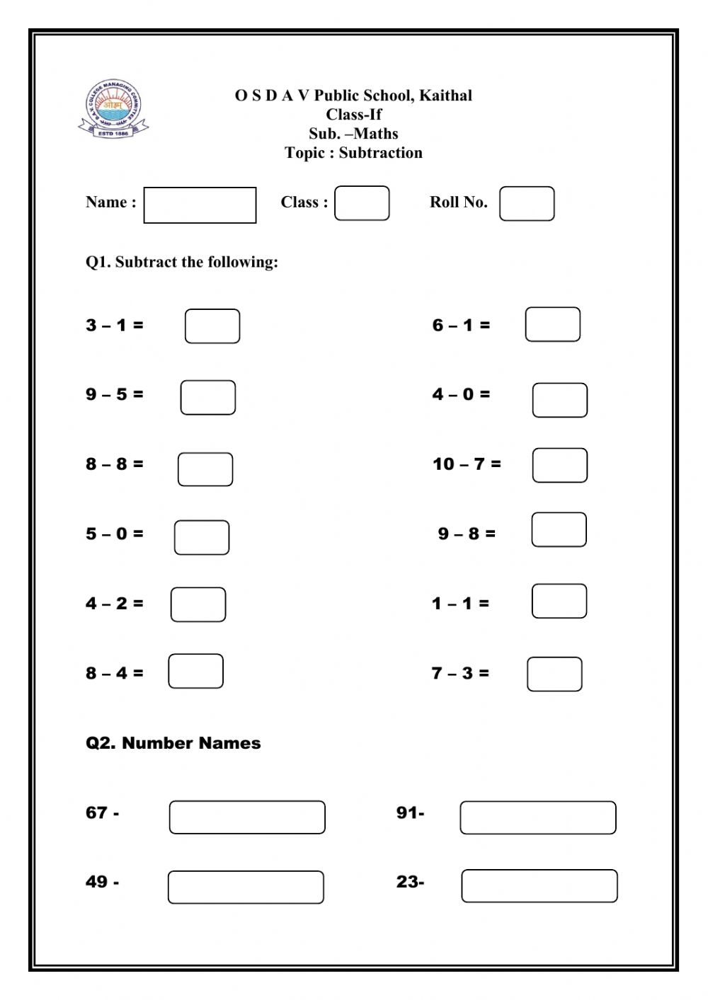 hight resolution of Subtraction worksheet for GRADE 1