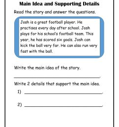Main Idea with supporting details worksheet [ 1291 x 1000 Pixel ]