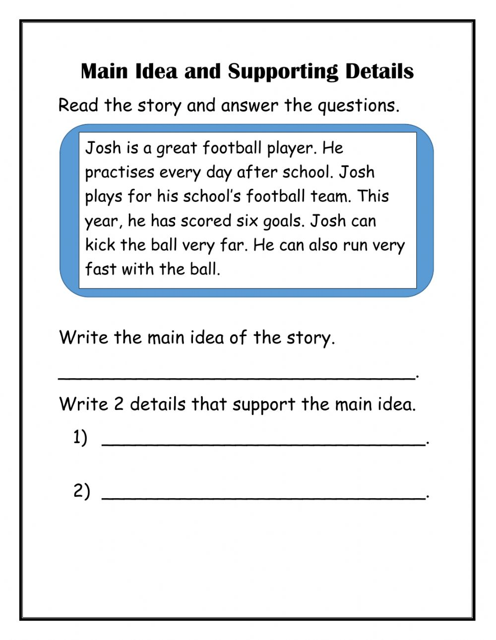 hight resolution of Main Idea with supporting details worksheet