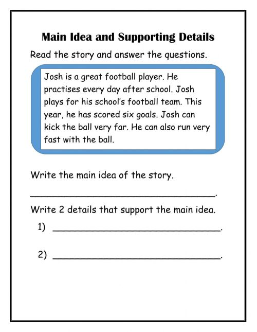 small resolution of Main Idea with supporting details worksheet