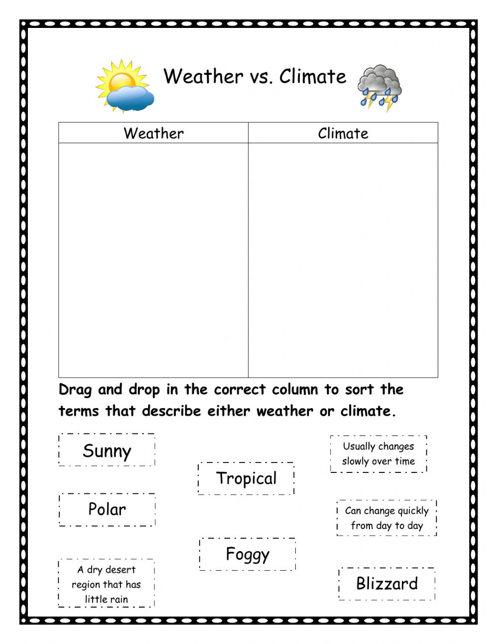 medium resolution of Weather vs climate worksheet