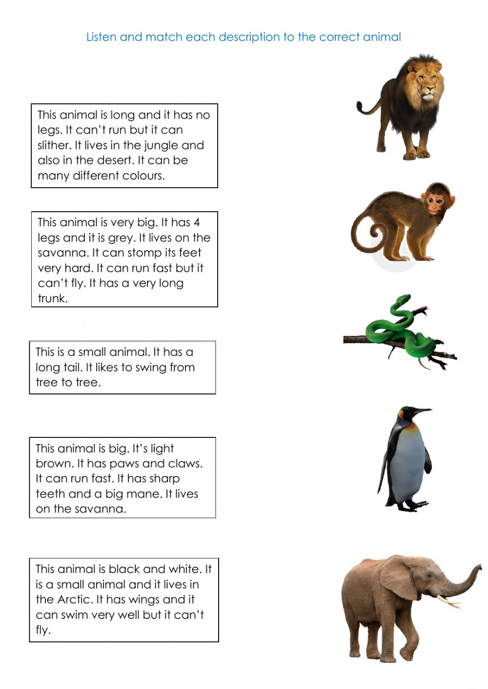hight resolution of Animals online exercise for First grade
