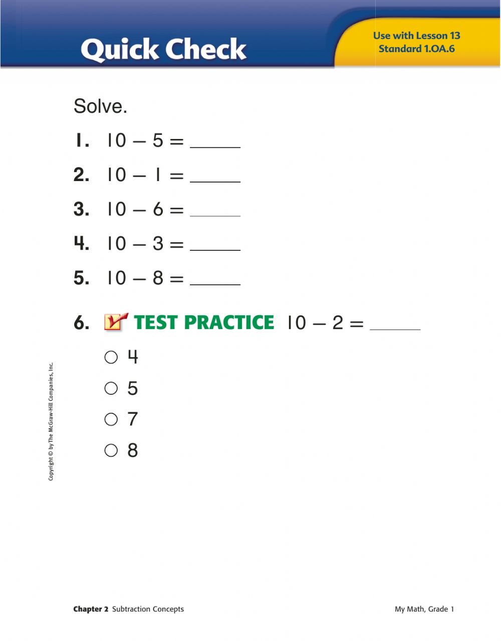 medium resolution of Math Grade 1 subtract from 10 worksheet