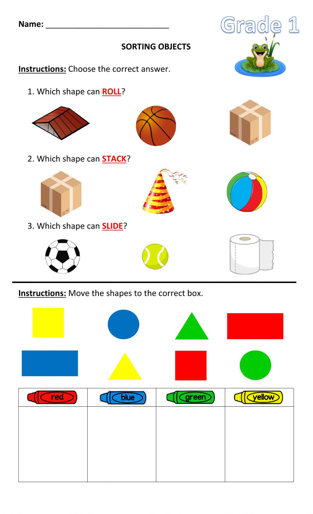 hight resolution of Sorting Objects activity
