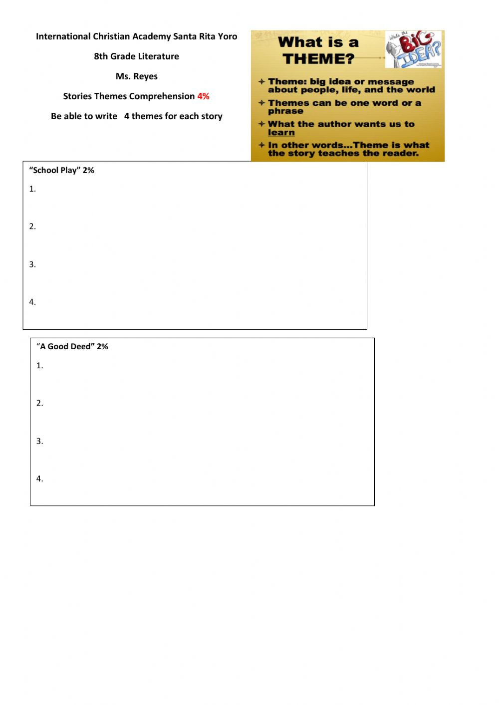 hight resolution of Themes Ms.Reyes worksheet