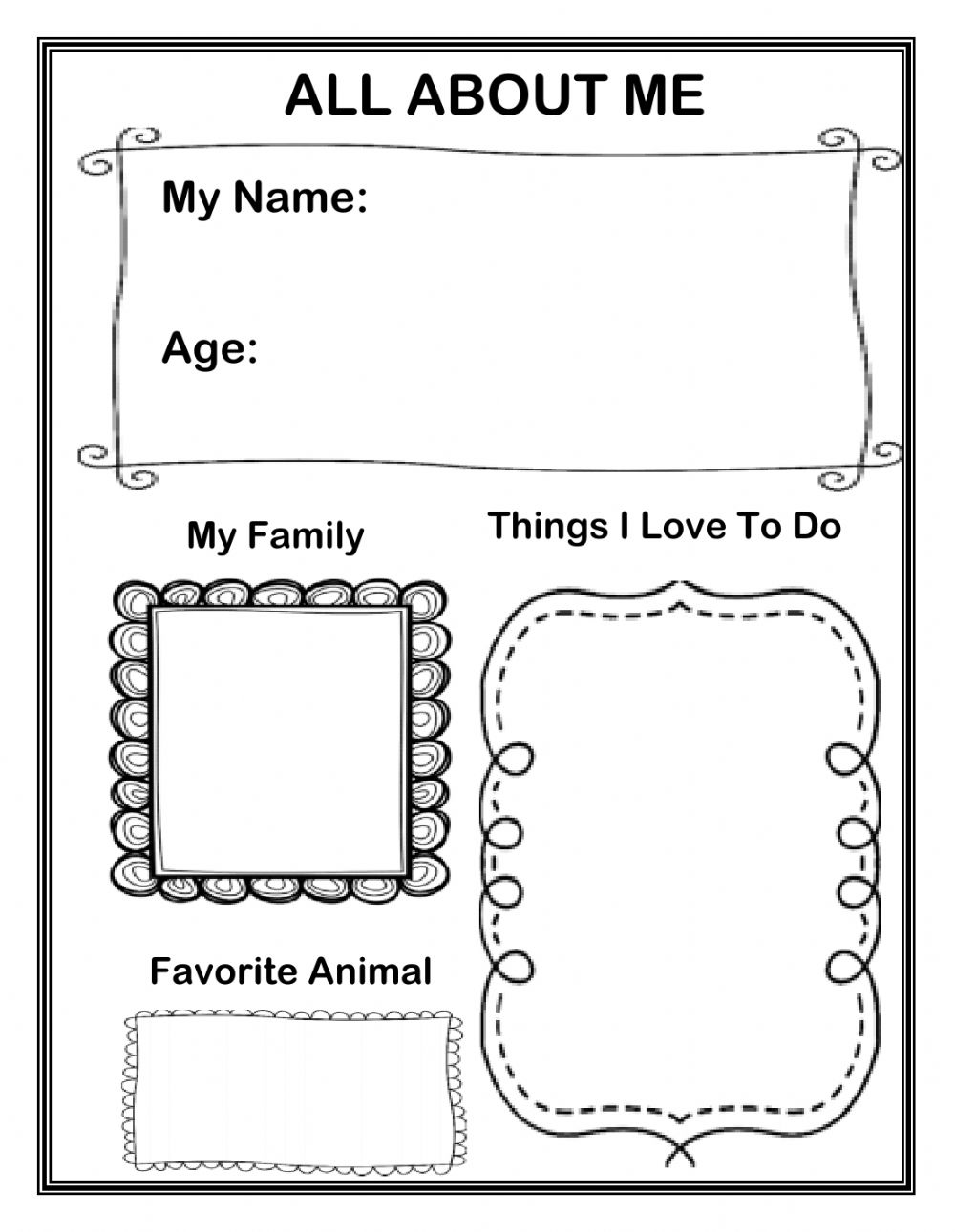 medium resolution of All About Me interactive exercise for Grade 1