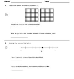 Pre Assessment over relate fractions to decimals worksheet [ 1291 x 1000 Pixel ]