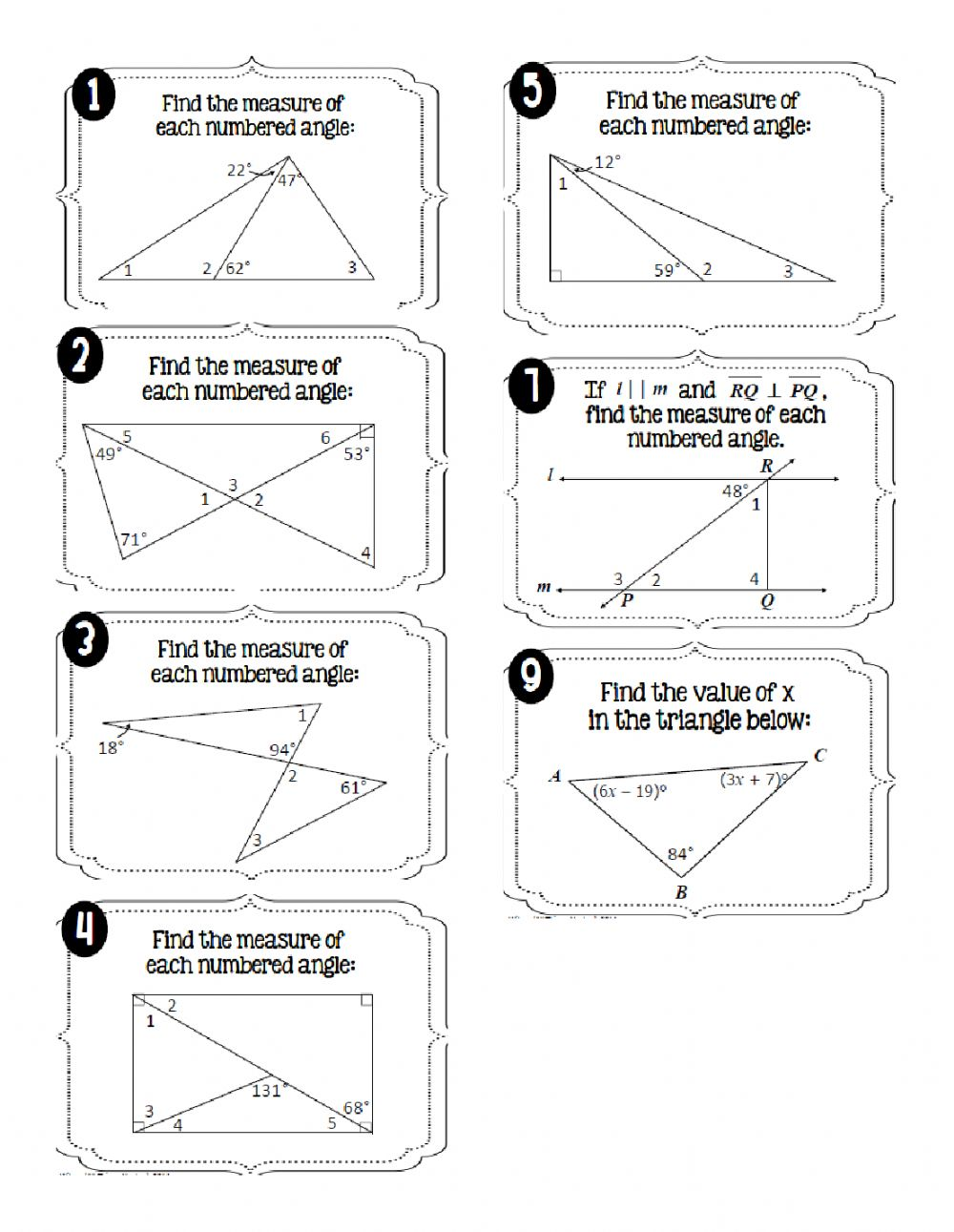 hight resolution of Interior Angles of Triangles worksheet