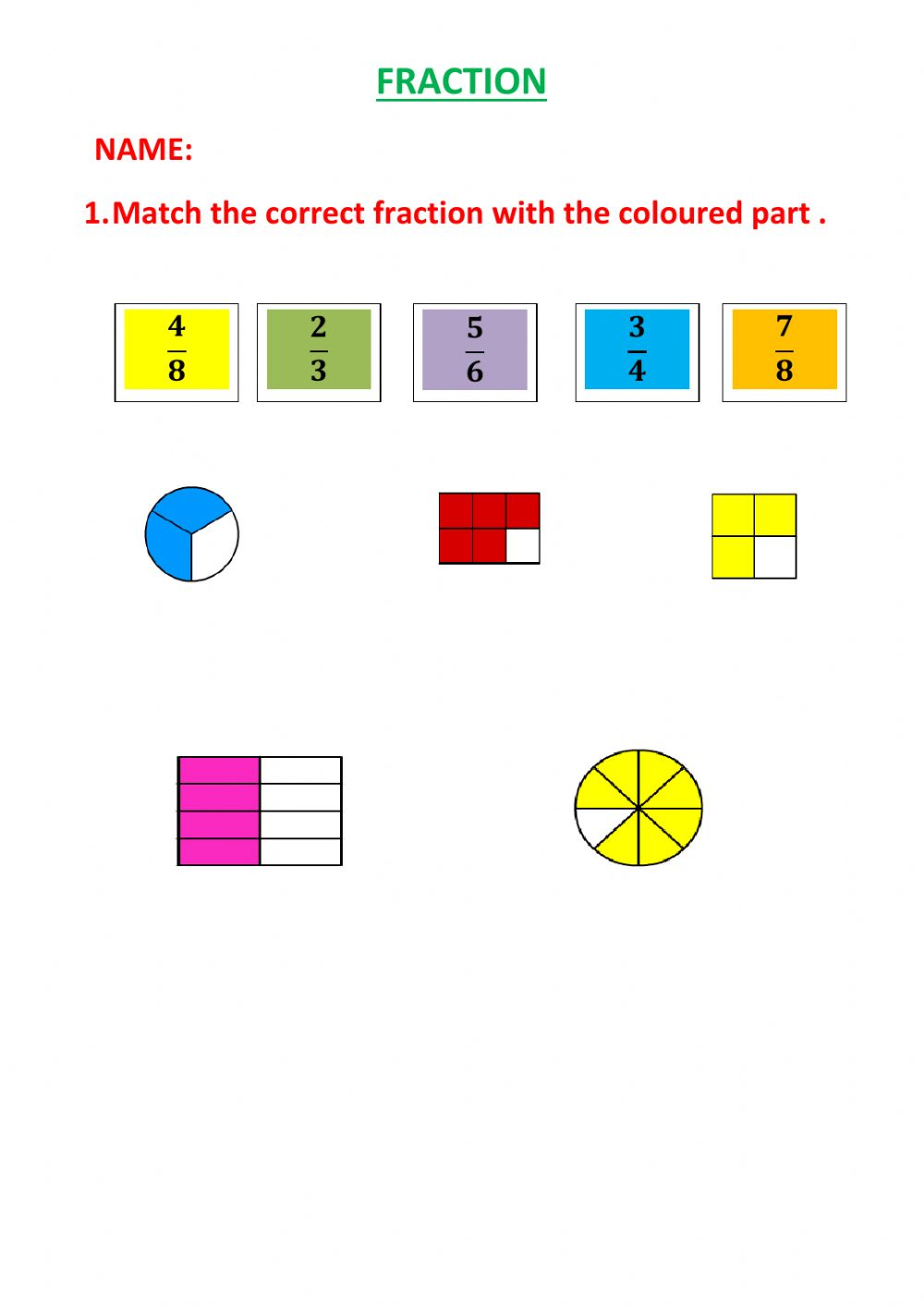 medium resolution of Fraction worksheet for GRADE 4