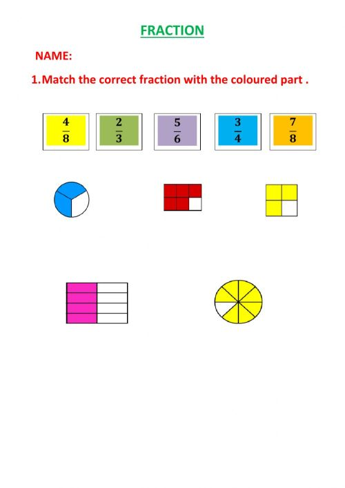 small resolution of Fraction worksheet for GRADE 4