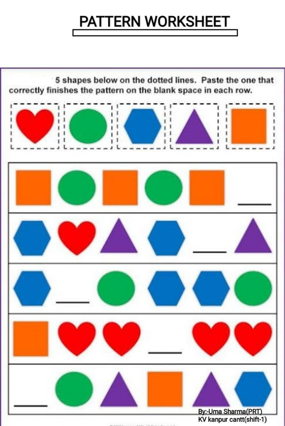 hight resolution of Pattern worksheet for Grade 4