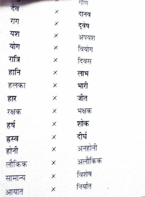 small resolution of Vilom shabd answers are given you just have to copy it . class 7 . worksheet