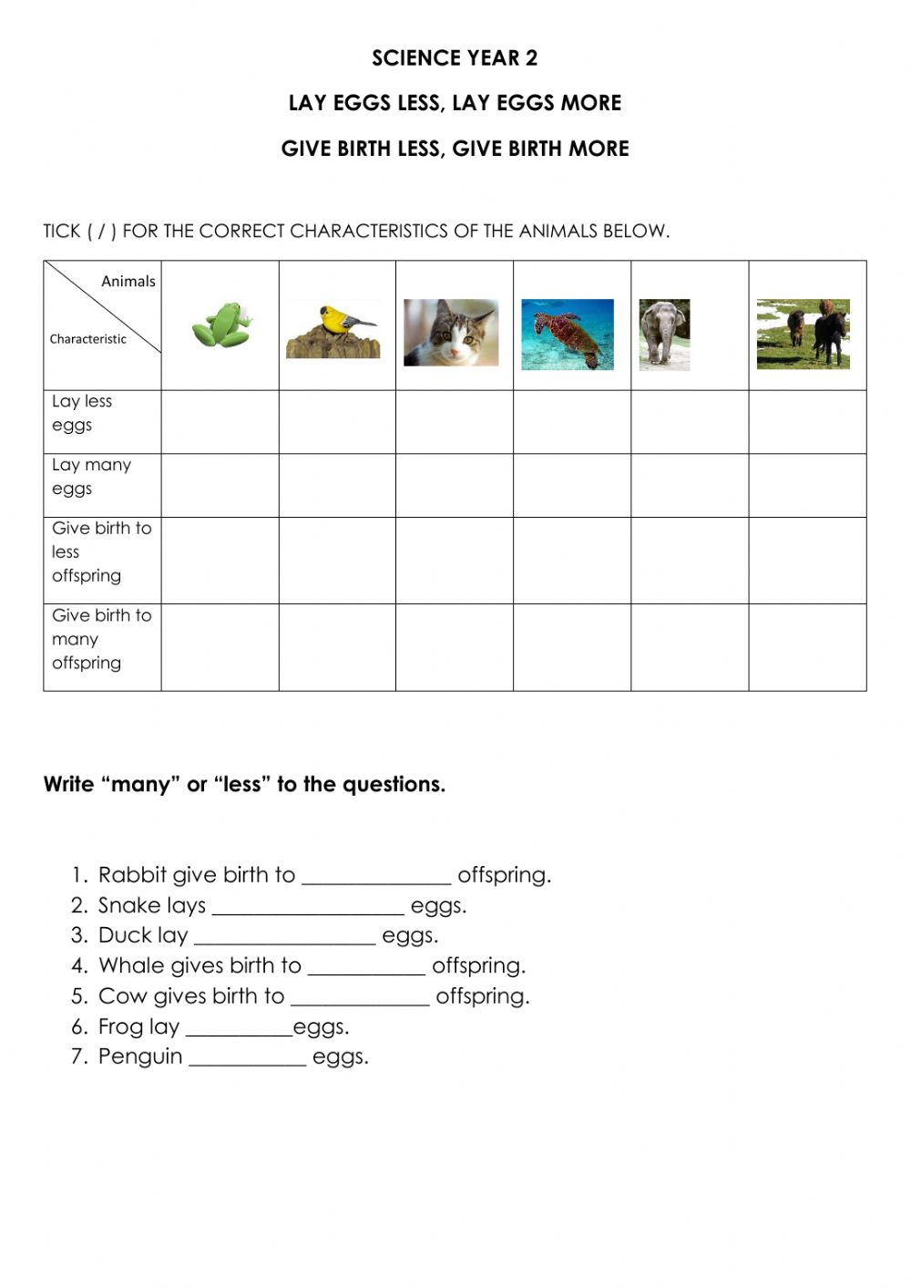 hight resolution of Animals Lay Eggs and Give Birth worksheet