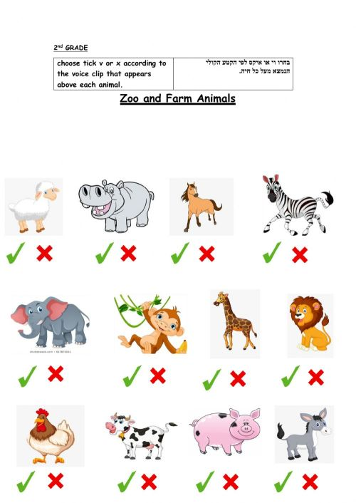 small resolution of Zoo and farm animals activity