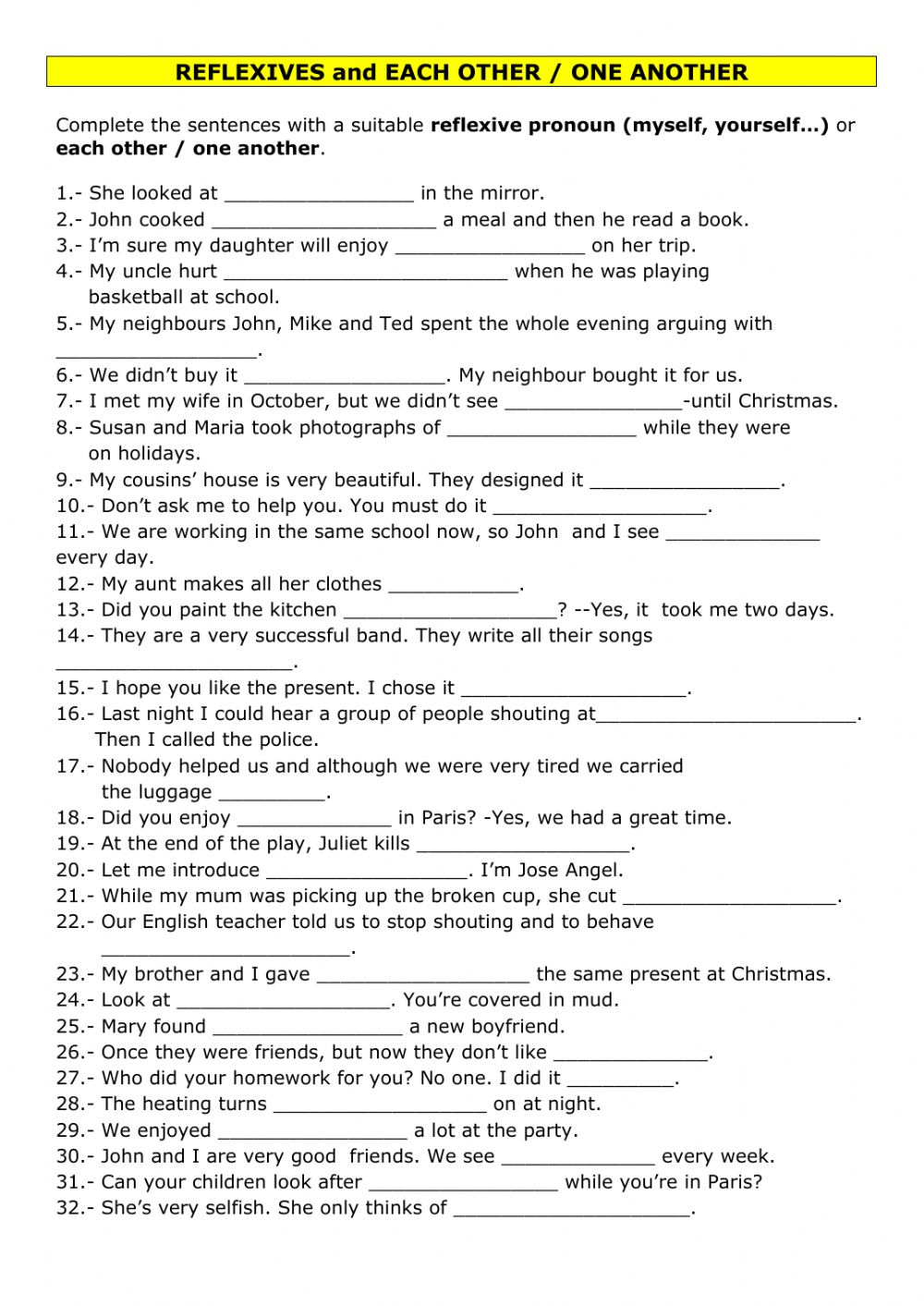 medium resolution of Reflexive pronouns or each other-one another worksheet