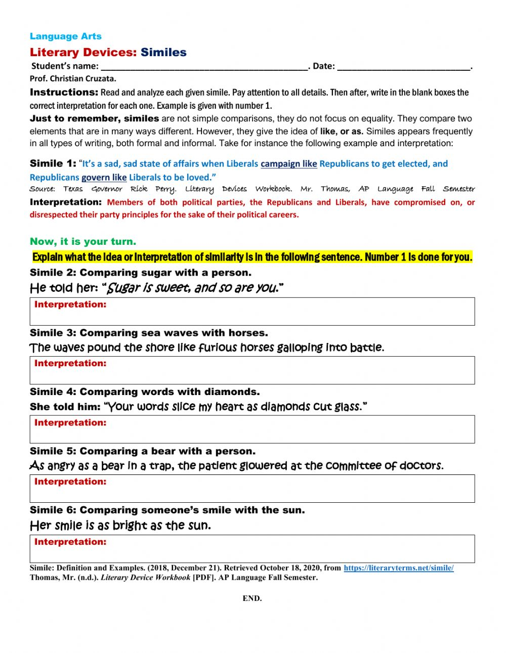 hight resolution of Literary Devices: SIMILE exercise worksheet