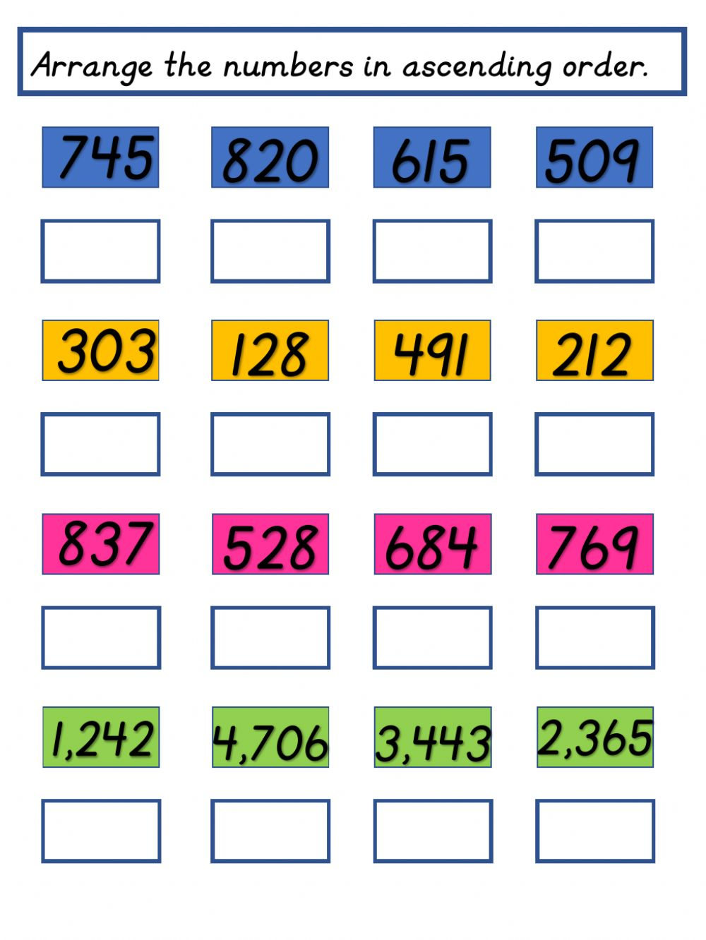 hight resolution of Ascending and Descending Order activity