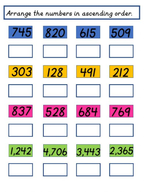 small resolution of Ascending and Descending Order activity