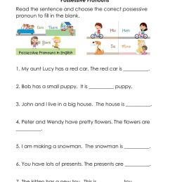 Possessive Pronouns worksheet for Grade 2 [ 1291 x 1000 Pixel ]