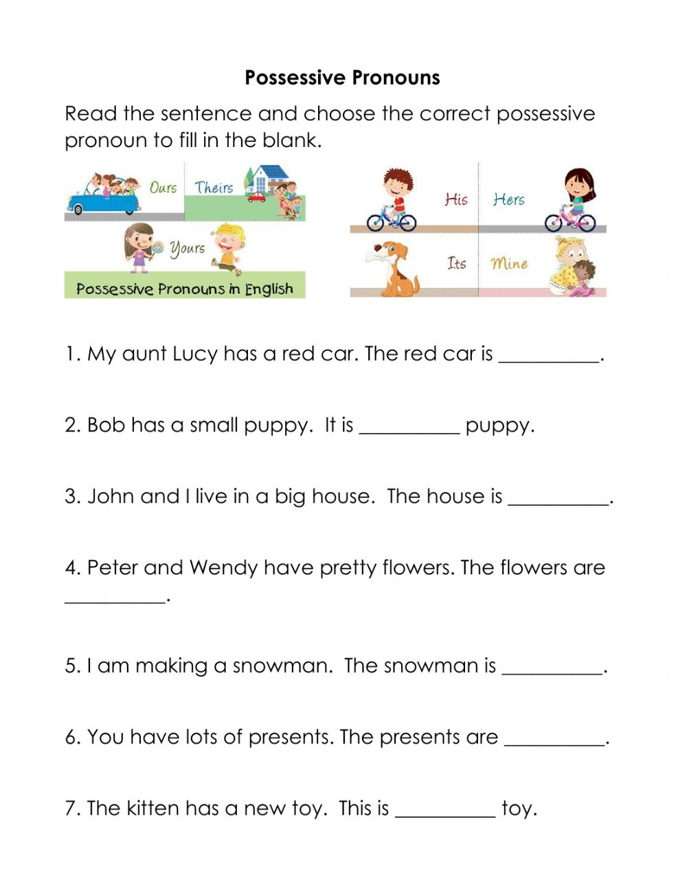 hight resolution of Possessive Pronouns worksheet for Grade 2