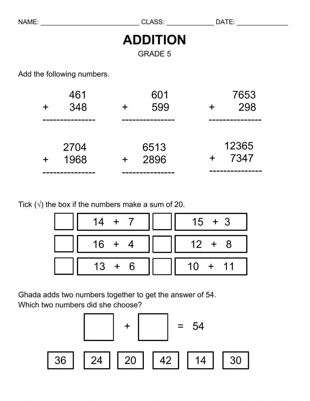 medium resolution of Addition Worksheet Grade 5 worksheet