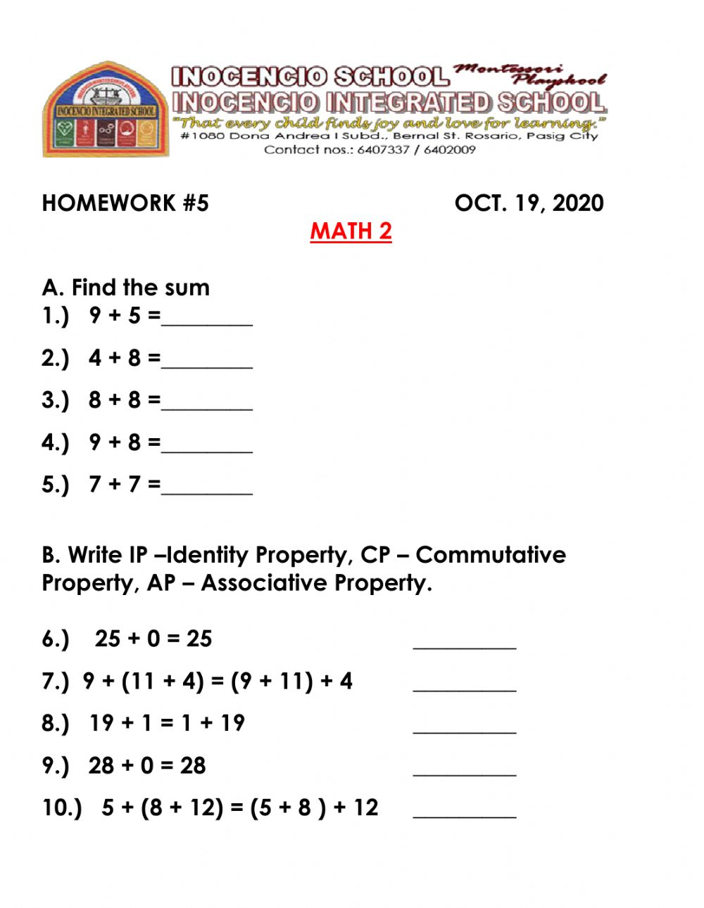 hight resolution of Addition and Properties of Addition interactive worksheet