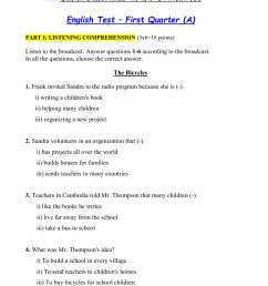 English Test (A) - 9th Grade - First Quarter worksheet [ 1413 x 1000 Pixel ]