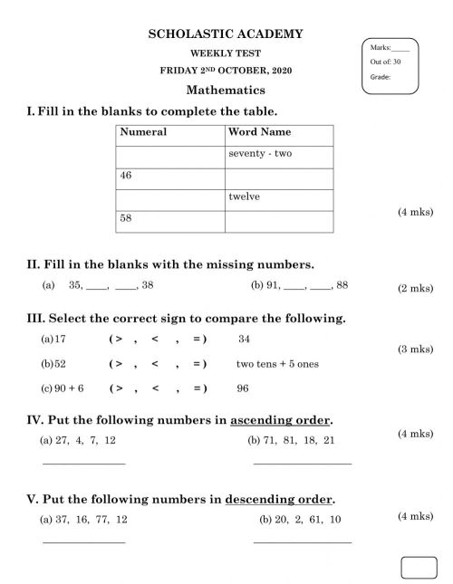 small resolution of Mathematics Weekly Test 2.10.20 worksheet