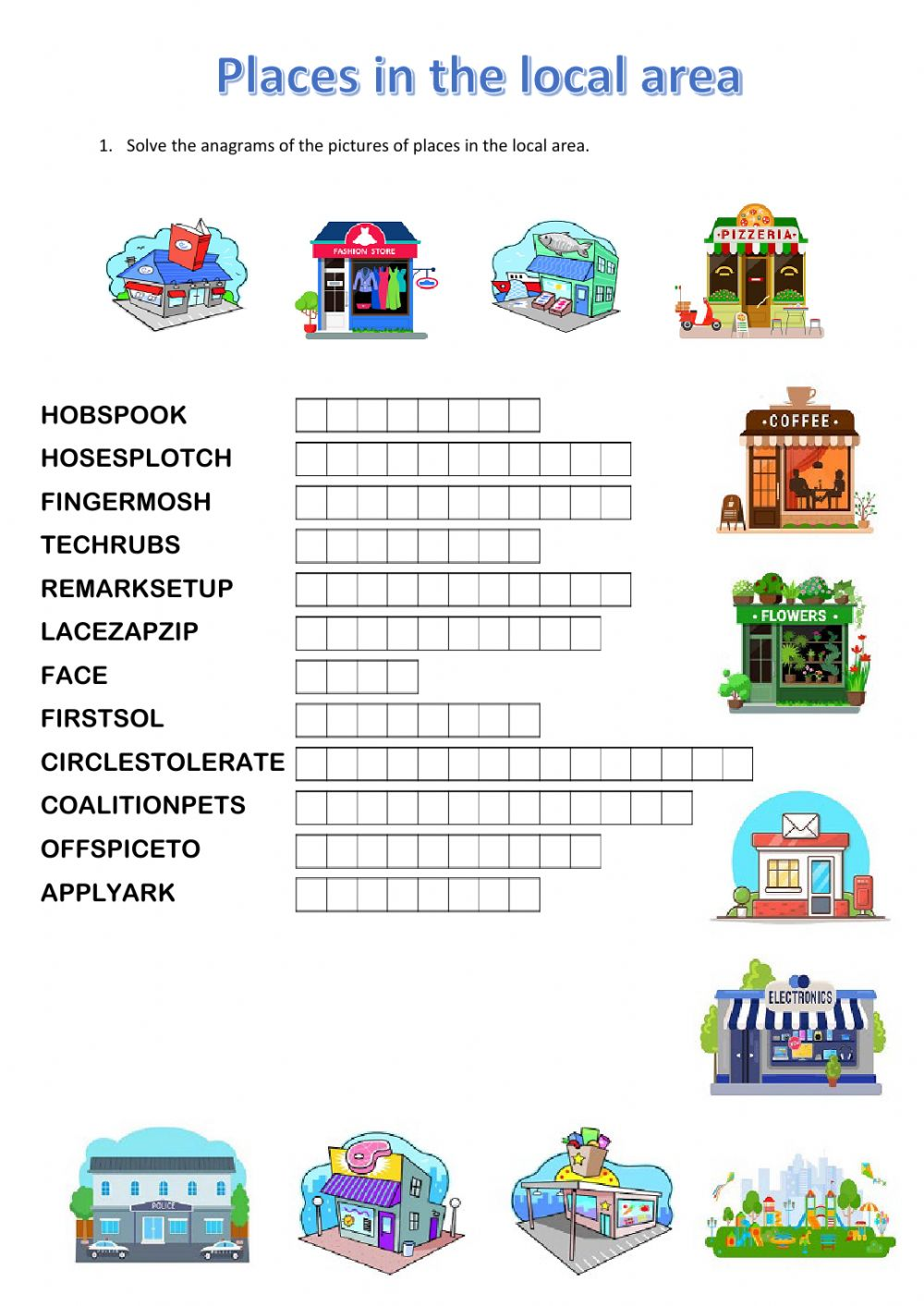 hight resolution of GESE Grade 3 - Places in the local area - Anagram worksheet
